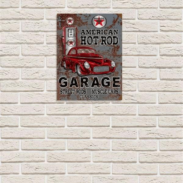 placa decorativa em mdf garagem american hot rod vintage carro prego e martelo