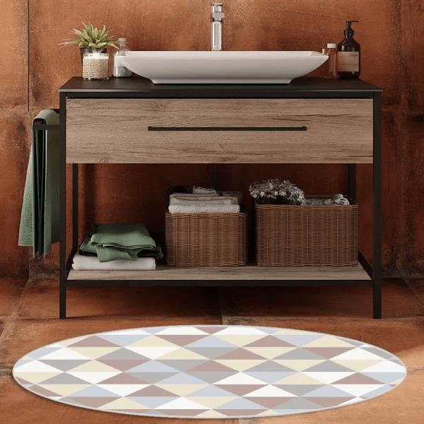 tapete emborrachado oval banheiro rinite